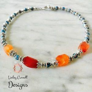 Jewelry - Orange Carnelian and Silver Necklace